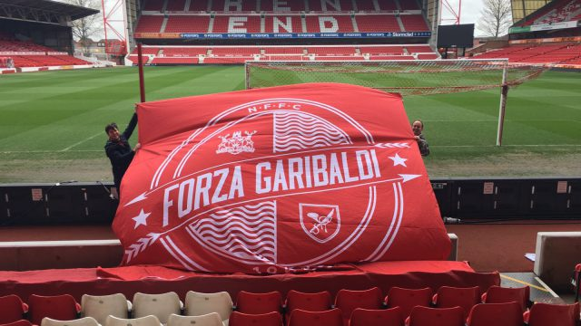 Forza Garibaldi Flag Inside City Ground